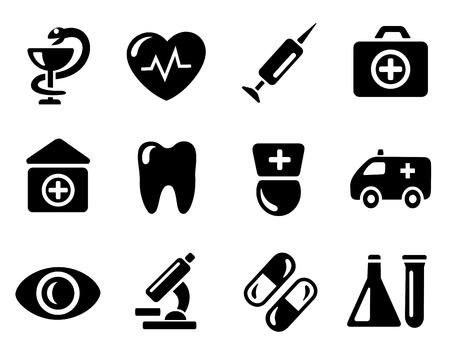 nurse injection: Medicina icon set Vettoriali