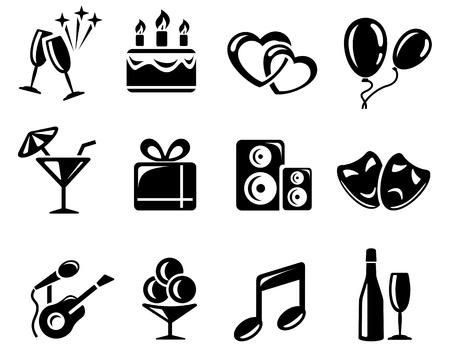 pastel de cumplea�os: Celebraci�n y fiesta icono de conjunto Vectores