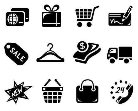 tarjeta de credito: Compras icono conjunto Vectores