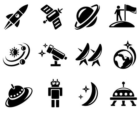 robot: Przestrzeń zestaw ikon Ilustracja