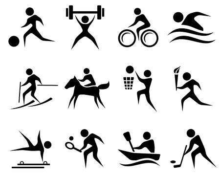 levantamiento de pesas: Deporte icono conjunto Vectores