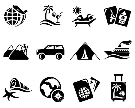 Vacations and travel icon set Illustration
