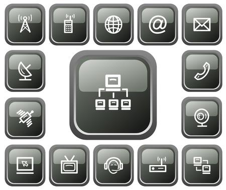 Communication button set Vector