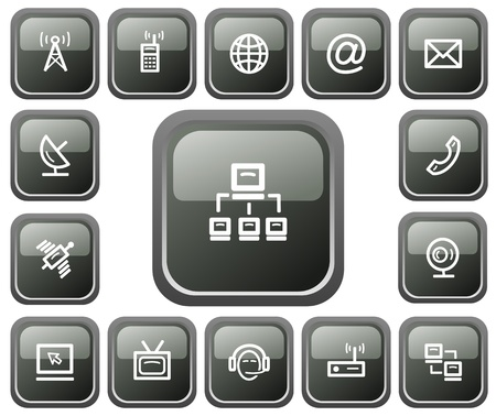 mail icon: Communication button set Illustration