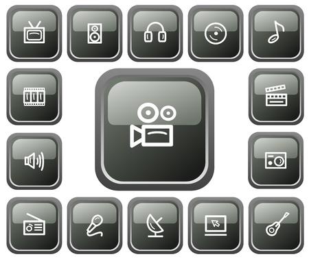Multimedia button set Иллюстрация