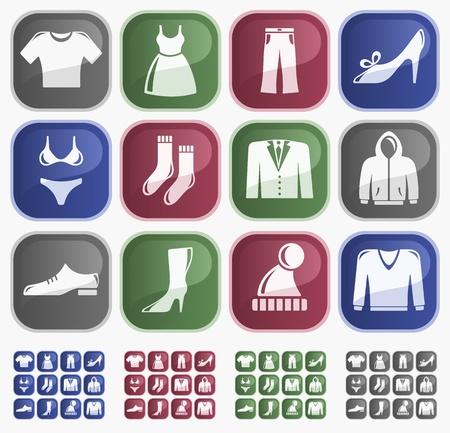 洋服: 服ボタン セット  イラスト・ベクター素材