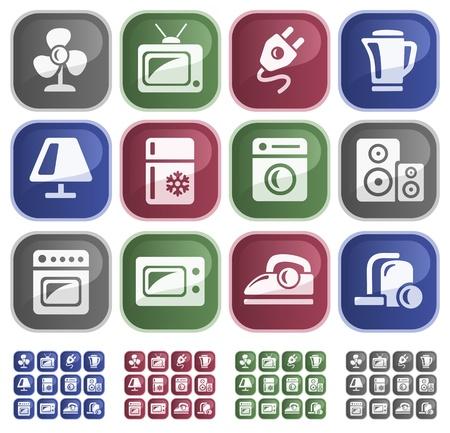 Home electronics button set Illustration