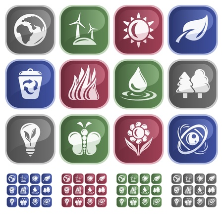 Environment button set Stock Vector - 13661783