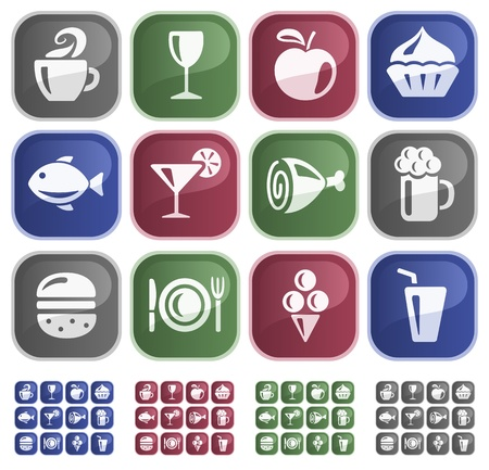 Food and drinks button set Stock Vector - 13661736