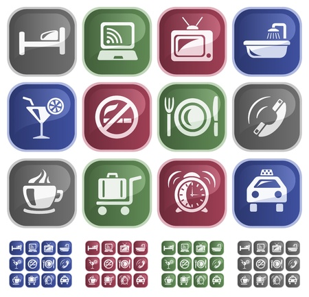 hotel rooms: Hotel services button set Illustration