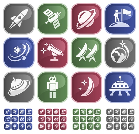 Space button set Stock Vector - 13680069