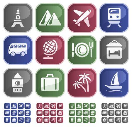 Travel button set Vector