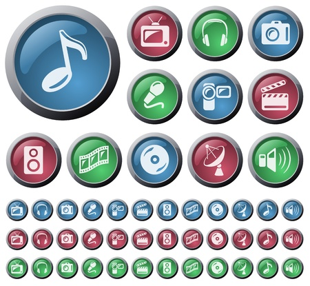 Multimedia button set Vector