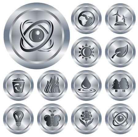 Environment button set Stock Vector - 13964340