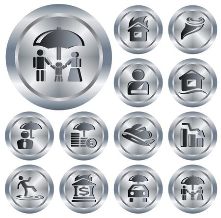 Insurance button set Stock Vector - 14001830
