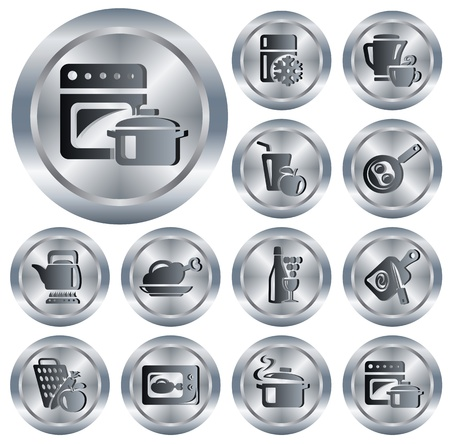 Kitchen and cooking button set Illustration
