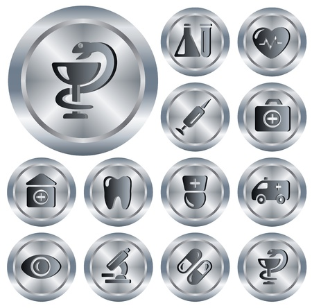 snake and a bowl: Medical button set