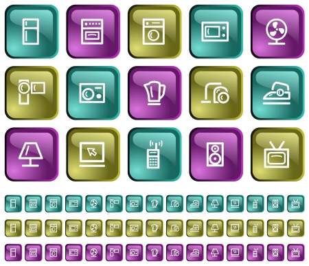 Home electronics button set Stock Vector - 14001836