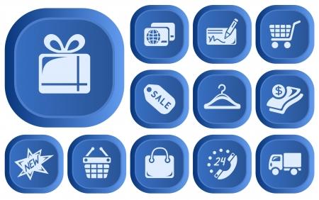Shopping button set Stock Vector - 14181889