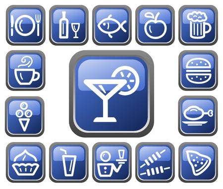 Food and drinks button set Stock Vector - 14235926
