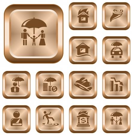 Insurance button set Stock Vector - 14235955