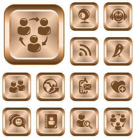 Social network button set Stock Vector - 14235951