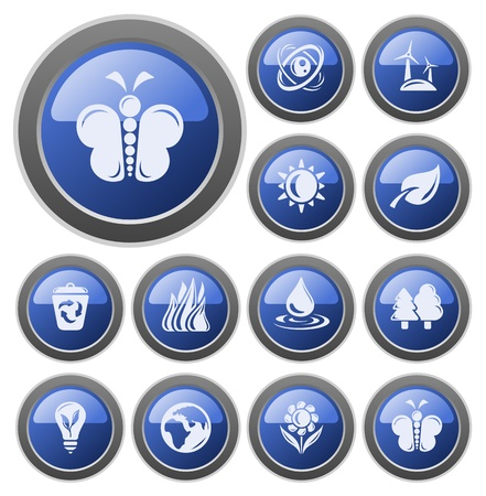 Environment button set Stock Vector - 14476990