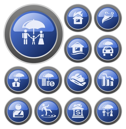 protection concept: Insurance button set Illustration