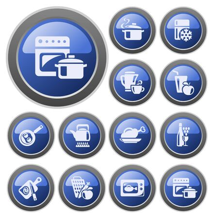 Kitchen and cooking button set Stock Vector - 14476986