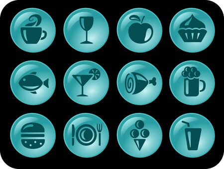 Food and drinks button set Vector