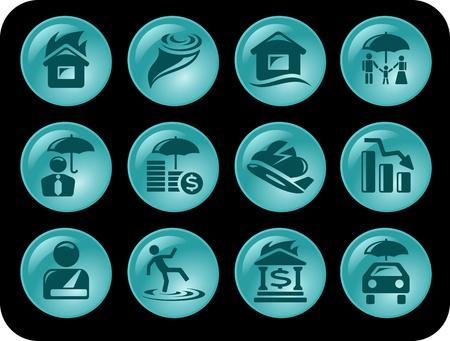 Insurance button set Stock Vector - 14530552
