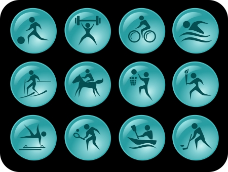 Sport button set Stock Vector - 14530533