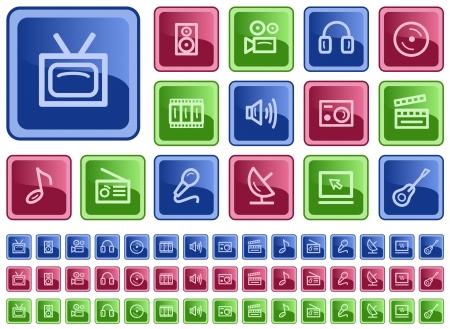 Multimedia button set Vector
