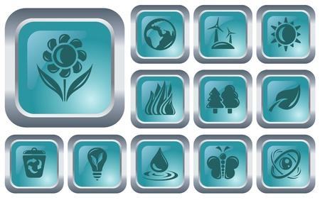 Environment button set Stock Vector - 14573487