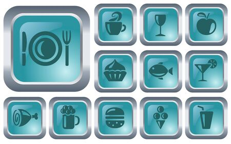 Food and drinks button set Stock Vector - 14573398