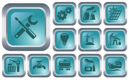 Industrial button set Illustration
