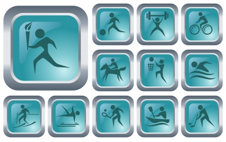 Sport button set Stock Vector - 14573401