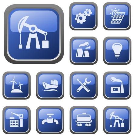 нефтяной: Промышленные набор кнопки Иллюстрация