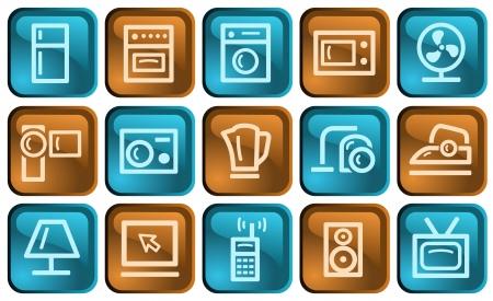 gas laundry: Home electronics button set Illustration