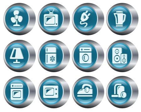 Home electronics button set Vector