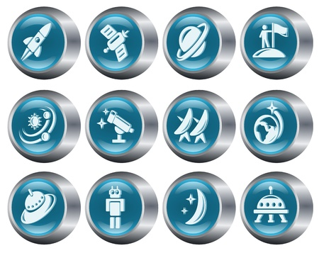 Space button set Stock Vector - 14897286