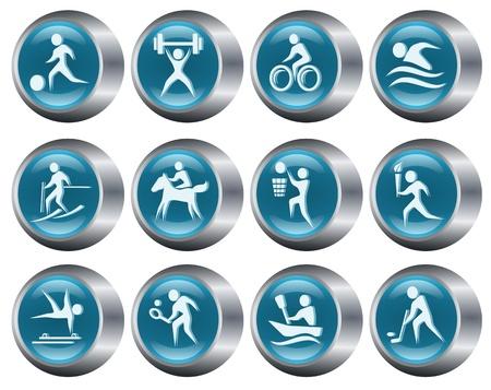 Sport button set Vector