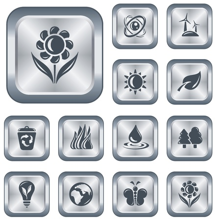 Environment button set Stock Vector - 15306648
