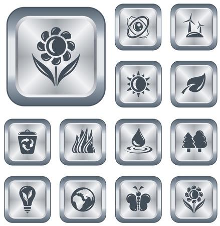Environment button set Stock Vector - 15306648