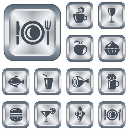 Food and drinks button set Illustration
