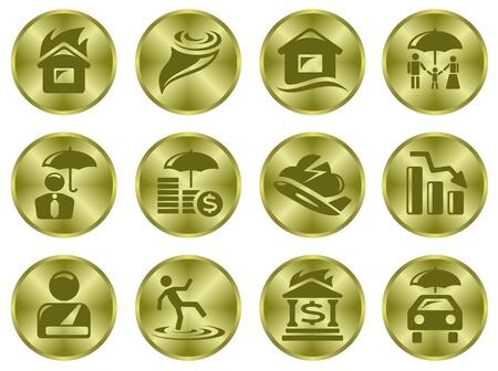 Insurance button set Stock Vector - 15777203