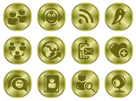 Social network button set Stock Vector - 15777201