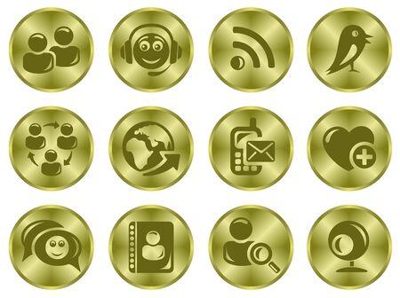 Social network button set Stock Vector - 15777201