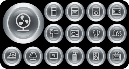Home electronics button set Vector