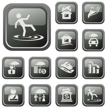 Insurance button set Stock Vector - 16236128